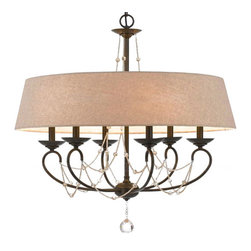 Country Flax Shade Crystal Drops Chandelier -