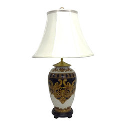 None - Versace Design Round Jar 1-light Gold Table Lamp - Add a touch of opulence to any room in your home with the Versace Design Round Jar table lamp, featuring a porcelain body construction. This effulgent lamp also highlights a beautiful, gold finish, and a lined silk shade.