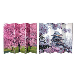 Oriental Furniture - 6 ft. Tall Double Sided Cherry Blossoms Canvas Room Divider 6 Panel - Two distinctive, gallery quality photographs, enlarged to six feet tall and printed on six panel room dividers. Both feature beautiful pink Japanese cherry blossoms; one with the famous pagoda style Matsumoto castle in the background. Printed on a substantial, yet portable, six panel canvas wood frame.Hard to find six panel folding screen room dividerAffordable, lightweight, durable canvas wood frame designBright, beautiful, Japanese cherry blossom photographs