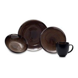 Baum - Baum Sandstorm 16-Piece Dinnerware Set - Sandstorm Dinnerware features a glossy solid color reactive glaze with metallic gunmetal rim that is sure to lend a striking touch to any meal. Ceramic dinnerware is great for casual dining including social gatherings and family dinners.