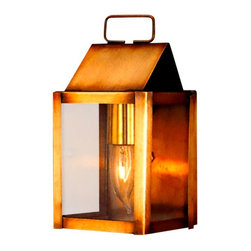 Lanterland - Carriage House Wall Mount Copper Lantern, Chemical Rust, Clear Glass - The Carriage House Wall Mount Copper Lantern, shown in Antique Brass with Clear Glass, is a classic colonial lantern made by hand in America from high quality copper or brass, will never rust or corrode and is designed to last for decades. Available in your choice of seven unique all-natural finishes and four classic styles of glass at no extra cost, this versatile lantern works well with traditional, Colonial Revival, New England Colonial and Cape Cod styles homes, cabins and lake homes. Perfect as a small entry light, a porch light, a patio light, mudroom light or dock light. Includes free shipping and our lifetime warranty.