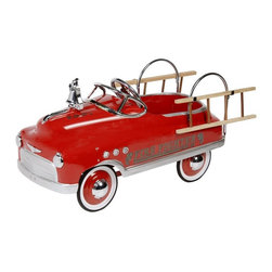 Dexton - Dexton Fire Fighter Comet Sedan Pedal Riding Toy Multicolor - DX-20332 - Shop for Tricycles and Riding Toys from Hayneedle.com! Your children may start putting cats into trees just to get them out but you'll love watching them pedal around in the vintage style of the Dexton Fire Fighter Comet Sedan Pedal Car Riding Toy. An all-metal body with a flaming red paint job will get your child from the station to the scene of the fire safely and in style and they'll love the working headlights and chrome bell. A true functioning steering wheel and padded seat will make this the ride to have in your neighborhood. This ride-on toy is recommended for children 3 - 6 years old with a weight capacity of 66 lbs. About DextonDexton has been manufacturing distinguished high-quality children's musical instruments and ride-ons for over 10 years. Located in the Orange County area of Southern California its factories produce 50 of the most popular musical instruments to professional standards that music teachers prefer. Dexton also produces a wide assortment of battery-powered and pedal car ride-ons as well as children's furniture. Dexton uses the highest-quality wood leather and chrome-plated steel when manufacturing its safe kid-friendly products.