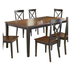 Hillsdale Furniture - Hillsdale Englewood Butterfly Leaf Dining Table in Black and Cherry - Sleek, clean, and refined, the Englewood gathering and dining table achieve elegance through simplicity. The transitional criss cross backed chairs and stools paired with our ever popular distressed black finish create the perfect combination of show stopping style and timeless design. Add to the already pleasing picture a tapered leg, cherry table top, and hardwood seats, and the Englewood collection becomes a Pure classic. Composed of solids, climate controlled composites, and veneers.