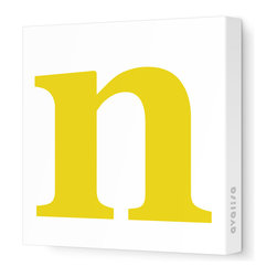 "Avalisa - Letter - Lower Case 'n' Stretched Wall Art, 12"" x 12"", Dark Yellow - Spell it out loud. These lowercase letters on stretched canvas would look wonderful in a nursery touting your little one's name, but don't stop there; they could work most anywhere in the home you'd like to add some playful text to the walls. Mix and match colors for a truly fun feel or stick to one color for a more uniform look."