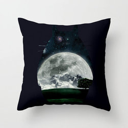Moonrise Totoro Pillow Cover - The films of Studio Ghibli have a way of filling us with childlike wonder at any age. Celebrate your love for My Neighbor Totoro in your home with this exclusively designed, midnight-toned poplin pillow cover featuring a silhouette of the forest spirit filled by the full moon. Whether it's for the kids or especially for you, we know it will bring a smile to your face.