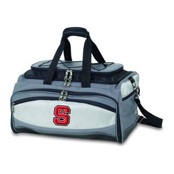 "Picnic Time - North Carolina State Buccaneer Cooler And Barbecue Set - The Buccaneer is a Picnic Time original design and the ultimate tailgating cooler and barbecue set in one! Don't be fooled by other similar looking items on the market. Only Picnic Time's Buccaneer features a PVC cooler that conveniently nests inside the compartment that houses the portable BBQ. The tote can carry the BBQ and a fully-loaded cooler at the same time! This patented, innovative design features a large insulated and fully-removable, water-resistant cooler that measures 16 x 8 x 7"" and holds up to 24 12-oz soda cans. Unzip the cooler from the main tote to access the portable charcoal barbecue grill that's included. The cooler has two carry straps on either side, and features a mesh pocket on the interior lid that fits a large ice pack/gel pack. The Buccaneer also features an adjustable shoulder strap with comfort pad, a reinforced waterproof base, three large zippered exterior pockets to store personal effects, padded carry handles, and a stretch cargo cord on the top of the tote to carry a blanket or towel. Included in the tote are: 1 portable charcoal BBQ grill with lid (16.7 x 10.8 x 5.1""), one black drawstring bag to hold the grill, and three stainless steel tools with aluminum handles and non-slip thumb grips: 1 large spatula featuring a built-in bottle opener, grill scraper, and serrated edge for cutting, 1 pair of tongs, and 1 BBQ fork. Don't be caught without the Buccaneer at your next tailgating party!; College Name: North Carolina State; Mascot: Wolfpack; Decoration: Embroidered; Includes: 1 BBQ grill with lid 1 Large spatula with serrated edge 1 Pair tongs 1 BBQ fork 1 Removable, insulated cooler tote"