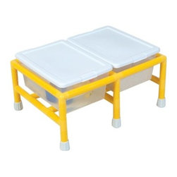Children's Factory Mini Sensory Table - Two tubs (16L x 11.5W x 6.75H inches) with lids are included with the Children's Factory Mini Double Discovery Low-Profile Table. These tubs are ideal for allowing a child to explore sand, water, rice, or grains. The table comes in a choice of sizes. It is grounded with safe anti-slip rubber floor protectors and has a one-year warranty.Children's Factory manufactures all items using only the best materials available. It ensures that all materials contain no latex, lead, cadmium, or other soluble substances. All materials meet the California TB117 standards for fire retardancy.