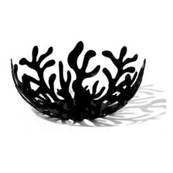 "Alessi - Alessi ""Mediterraneo"" Fruit Holder Small - A sea of underwater plants catches your eye as you enter a room. Designed by Emma Silvestris, this steel-colored (with black or red epoxy resin) fruit holder is striking filled or empty."