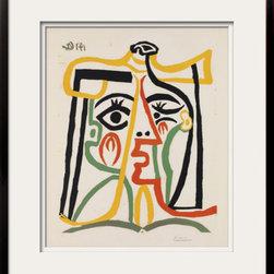 Artcom - Tete de femme by Pablo Picasso Artwork - Tete de femme by Pablo Picasso is a Framed Art Print set with a METROPOLITAN wood frame and Polar White and Polar White matting.