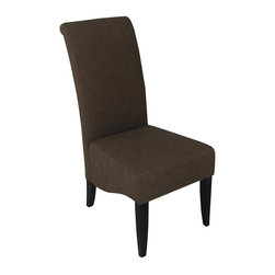 Carolina Accents - Cameron Upholstered Dining Side Chair in Cocoa w Wood Legs - Set of 2 - Set of 2. Generous size seat. Thickly padded for extra comfort and durability. Smoothly tapered hardwood legs. Linen look polyester fabric seat. Espresso finish. 19.5 in. W x 29.88 in. D x 41.75 in. H