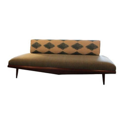 Pre-owned Mid-Century Modern Platform Daybed - This platform daybed makes a big impression! The upholstered cushion is finished in a woven multi-tonal woven commercial grade fabric to complement the walnut wood. The back cushion is upholstered in an Ikat inspired patterned that gives a nice airy feel to the piece.  This daybed is ideal for a studio apartment; you have a sofa and the bed in one, all while maintaining high style!