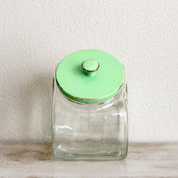 Vintage Glass Jar With Mint Green Lid by Dudads - Use this vintage jar for unique storage in the kitchen or bathroom. Fill it up with sweet treats like cookies and candies in the kitchen, or store cotton balls or Q-tips in the bathroom.