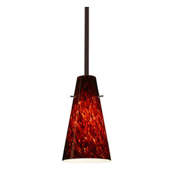 "Besa Lighting - Besa Lighting 1TT-412441 Cierro 1 Light Stem-Hung Mini Pendant - Cierro is a softly tapered narrow cylinder, creating a refined contemporary look. Our Garnet glass is full of floating, vibrant red tones with a mix of black and white tones behind them. When the glass is lit the fiery color palette illuminates to exude a harmonious display. This decor is created by rolling molten glass in small bits of deep red hues called frit along with black glass powders. The result is a multi-layered blown glass, where frit color is nestled between an opal inner layer and a clear glossy outer layer. This blown glass is handcrafted by a skilled artisan, utilizing century-old techniques passed down from generation to generation. Each piece of this decor has its own artistic nature that can be individually appreciated. The stem pendant fixture is equipped with an adjustable telescoping section, 4 connectable stem sections (3"", 6"", 12"", and 18"") and low Profile flat monopoint canopy.Features:"