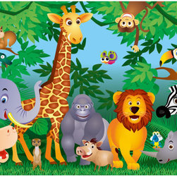 In The Jungle Wall Mural - Bringing the beloved children's song to life the In the Jungle mural is a happy decor idea for a kids room. Colorful animals pop out of the trees to smile and pose.