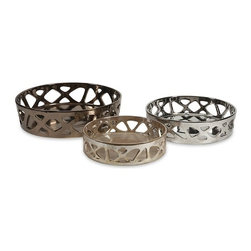 "IMAX - Geometric Cutwork Trays- Set of 3 - This set of three metallic geometric cutwork trays add a contemporary feel to any space. They are perfect for decorating your home or even entertaining! Item Dimensions: (3-3.5-4.25""h x 11-13-15.75""w x 11-13-15.75"")"