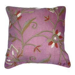 Crewel Pillow Marigold Queen Pink Silk Organza (16x16)