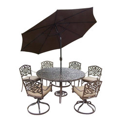 Oakland Living - 9-Pc Traditional Round Outdoor Dining Set - Includes one round table, four stackable and two swivel rocker chairs with cushions, crack and tilting umbrella and stand. Metal hardware. Fade, chip and crack resistant. Umbrella hole. Center of table can be replaced with ice bucket. Lattice pattern and scroll work. Warranty: One year limited. Made from rust free cast aluminum. Antique bronze hardened powder coat finish. Minimal assembly required. Table: 60 in. Dia. x 29 in. H (70 lbs.). Stackable chair: 23 in. W x 22 in. D x 35.5 in. H (25 lbs.). Swivel chair: 23 in. W x 17.5 in. D x 38 in. H (33 lbs.)This 60 inch 9 piece dining set is the prefect piece for any outdoor dinner setting. Just the right size for any backyard or patio. The Oakland Mississippi Collection combines southern style and modern designs giving you a rich addition to any outdoor setting. Each piece is hand cast and finished for the highest quality possible.