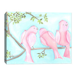 "Doodlefish - Songbirds One - 20"" x 16"" Stretched Canvas Giclee of the three sweet pink birds sitting on a branch with a bright aqua blue sky. Unframed, this pieces is a stretched canvas that is gallery-wrapped around thick museum quality wood.  This is also available as one 36x12 piece with all six birds. A companion piece Songbirds Two makes the set a diptych. The branch travels across the two pieces.  Framed, it is mounted and framed in your choice of frame colors. The finished size with the frame is 24"" x 20"". Personalization is available. Location, font and size of personalization is at the discretion of the artist."