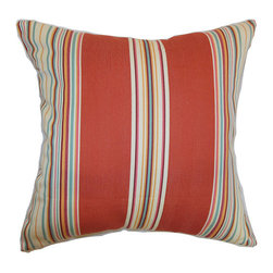 The Pillow Collection - Hyder Red 18 x 18 Stripes Throw Pillow - - Pillows have hidden zippers for easy removal and cleaning  - Reversible pillow with same fabric on both sides  - Comes standard with a 5/95 feather blend pillow insert  - All four sides have a clean knife-edge finish  - Pillow insert is 19 x 19 to ensure a tight and generous fit  - Cover and insert made in the USA  - Spot clean and Dry cleaning recommended  - Fill Material: 5/95 down feather blend The Pillow Collection - P18-MVT-1195-REDBARN-C100