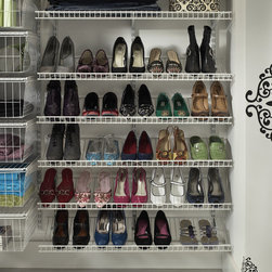 Shoes Shoes Shoes - Shoes are beautifully organized with ClosetMaid ShelfTrack shoe shelves.