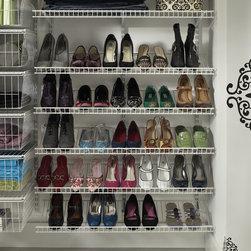 Shoes Shoes Shoes - Shoes are beautifully organized with ClosetMaid ShelfTrack shoe shelves.