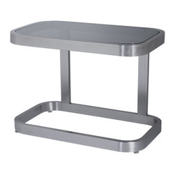 Allan Copley Designs - Allan Copley Designs James Square End Table with Smoked Gray Glass Top - The James Collection by Allan Copley designs makes a contemporary statement in any room's decor. With its Brushed stainless steel frame and Smoked grey glass, the James Collection exudes a confidence and style. Ample surface areas provide plenty of space for entertaining or displaying those family favorites. The James Collection includes Rectangular Cocktail, Square End and Console Table.