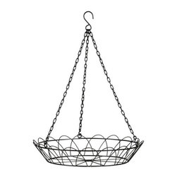 Amira Hanging Birdbath Holder - As much as I would love to put a bird bath in my yard, I know would get knocked over. But this hanging bird bath can be hung from a tree branch or hook.