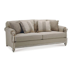 A.R.T. - A.R.T. Belmar II Riley Linen Sofa - This inviting sofa is shown in a timeworn distressed linen finish. The finish is complemented by natural heavyweight linen and cotton blend fabric. Two pairs of espresso stripe and grid pattern down blend toss pillows complete the look.