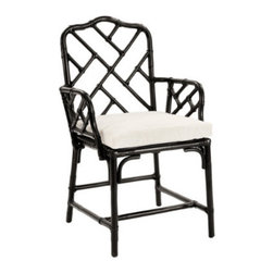 Macau Chair - The iconic and classic Chinese Chippendale chair at an excellent price. Available in rubbed black, chocolate brown, or antique white, it's a must in Chinoiserie design.