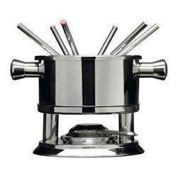 Melt Away Fondue Set - The cheese stands alone--and stands out--with the sophisticated Melt Away Fondue Set. This stainless steel melting pot is easy to use and clean, plus it comes with six stainless steel prongs for endless casual snacking. The handles make for easy transport between your kitchen and dining area. But beware of those double-dippers!