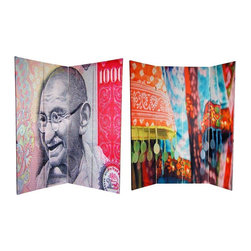 Oriental Furniture - 6 ft. Tall Double Sided Gandhi Room Divider - Bring home the brilliant colors of Mother India with these two bright, beautiful, iconic images. The front features a close up of Mahatma Gandhi, India's non-violent liberator, from the lithographic rendering on the 1,000 Rupee note. On the back is a close up image of the vibrant ornamentation on lovely printed cotton sari fabrics. These lovely South-Asian images will bring elegant accents to your living room, bedroom, dining room or studio. This four panel screen has different images on each side, as shown.