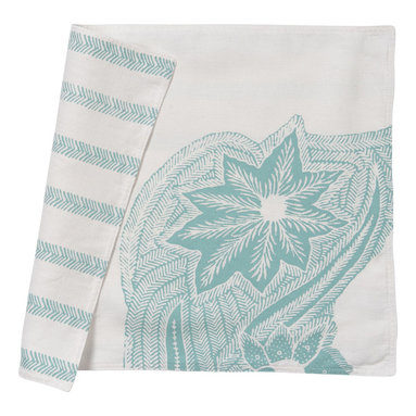Cricket Radio - Indochine Sea Fern Placemats, Set of 2, White/Robin's Egg - It's time to turn the tables. This set of two pre-shrunk linen placemats features stylized sea ferns printed on front and fern-like stripes on back so you can add at least two new looks to your dining or breakfast table. And they come in several colors so you can mix or match to your heart's content.