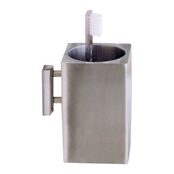 WS Bath Collections - WS Bath Collections Metric Toothbrush Holder in Brushed Stainless Steel - High Quality Designer Bathroom Accessories