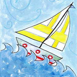 Oh How Cute Kids by Serena Bowman - Sailboat 4, Ready To Hang Canvas Kid's Wall Decor, 16 X 20 - Each kid is unique in his/her own way, so why shouldn't their wall decor be as well! With our extensive selection of canvas wall art for kids, from princesses to spaceships, from cowboys to traveling girls, we'll help you find that perfect piece for your special one.  Or you can fill the entire room with our imaginative art; every canvas is part of a coordinated series, an easy way to provide a complete and unified look for any room.