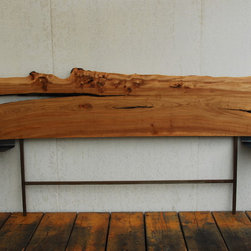 live edge furniture - exquisite california walnut live edge headboard.  simple raw steel shelf ends.