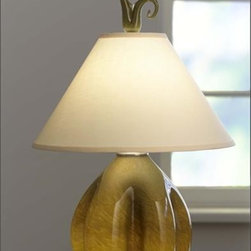 """Union Street Glass - Morph Bowl Table Lamp - This unique """"Morph"""" table lamp (Pistachio shown) comes in Pistachio,  Mokka, Tabac, Pumpkin, and Ivory. The shade is a bone colored linen.These  stunning lamps are illuminated at the base (40W bulb) as well as the  shade (100W bulb); and can be controlled independently for ambience,  task or together as illuminating art for the home."""