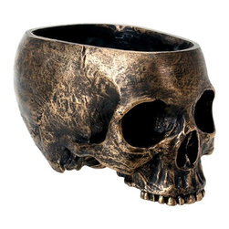 Summit - Brass Colored Half Face Skull Planter with Round Open Top Head - This gorgeous Brass Colored Half Face Skull Planter with Round Open Top Head has the finest details and highest quality you will find anywhere! Brass Colored Half Face Skull Planter with Round Open Top Head is truly remarkable.