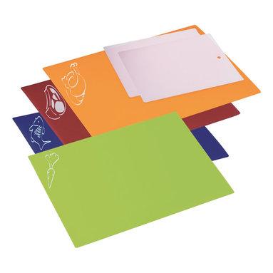 Progressive 6 Piece Flexible Chopping Mat Set - This set of Progressive chopping mats are perfect for prepping an entire meal without worrying about cross-contamination of foods.  The color-coded chopping mats with food icons make it easy to remember what foods are being prepared on each surface.  Easily transport the prepared foods directly to a pan or bowl.  Set includes 2 bonus clear bar sized chopping mats.Product Features                                   Red for meat  blue for seafood  yellow for poultry and green for vegetables.            Protects counters just as well as thicker cutting boards.            Cutting surface will not dull knives.            Flexible cutting mats roll for easy storage.            Includes 2 bonus clear bar-sized chopping mats.            Colors: Blue  Orange  Green  Red            Dishwasher Safe            Material: Plastic