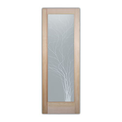 """Bathroom Doors - Glass Bathroom Door Frosted Obscure  WISPY TREE - CUSTOMIZE GLASS BATHROOM DOORS!  Quality frosted glass bathroom door designs YOU Customize to suit YOUR decor!  Obscure glass bathroom doors create obscurity thru art!  Ship for just $99 to most states, $159 to some East coast regions, custom packed and fully insured with a 1-4 day transit time.  Available any size, as bathroom door glass insert only or pre-installed in a door frame, with 8 wood types available.  ETA for obscure decorative glass bathroom doors will vary from 3-8 weeks depending on glass & door type.........Block the view, but brighten the look with a beautiful interior glass door featuring a custom frosted glass design by Sans Soucie!   Select from dozens of sandblast etched obscure glass designs!  Sans Soucie creates their bathroom glass door designs thru sandblasting the glass in different ways which create not only different effects, but different levels in price.  Choose from the highest quality and largest selection of frosted decorative glass interior doors available anywhere!   The """"same design, done different"""" - with no limit to design, there's something for every decor, regardless of style.  Inside our fun, easy to use online Glass and Door Designer at sanssoucie.com, you'll get instant pricing on everything as YOU customize your door and the glass, just the way YOU want it, to compliment and coordinate with your decor.  When you're all finished designing, you can place your order right there online!  Glass and doors ship worldwide, custom packed in-house, fully insured via UPS Freight.   Glass is sandblast frosted or etched and bathroom door designs are available in 3 effects:   Solid frost, 2D surface etched or 3D carved. Visit our site to learn more!"""