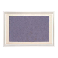 Modern Rectangle 1 - Framed Silkscreen Print - Lose yourself in a subtle sea of color with the geometric serenity of Modern Rectangle 1, a field of softly-mottled solid purple silk-screened onto handmade Bhutan paper. This hue is calming but rich, a transitional accent with enduring popularity due to its associations with historic royalty and finery, yet the gentle variations in the printing give depth and sophistication to the look.