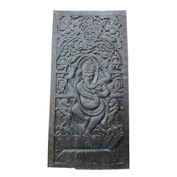 Ganesha Carved Wood Wall Panels India Door - http://www.mogulinterior.com/antique-door-dancing-ganesha-themed-teak-wood-carved-panel.html