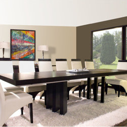 "Sharelle Furnishings - Verona Dining Table - The Verona Dining Table stands out because of its unique base. The 3 wood legs on each side of the table are angled to create a beautiful contempoary dining table. The sleek rectangular table top comes with 2 extensions on both sides. Features: -Verona collection. -Wenge finish. -Material: Wood. -Two exterior extensions. -Three wood legs on each side. -Seats up to 14 people. -Dimensions: 30"" Height x 94""-130"" Width x 40"" Depth."