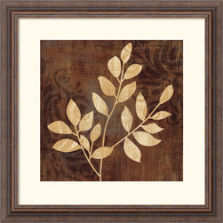 Amanti Art - Leave it Natural II Framed Print by NBL Studio - Shades of Creme and Coco harmonize with leafy silhouettes to create a rich accent piece for your home.