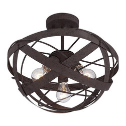 "Lamps Plus - Contemporary Orbital Weave 15 3/4"" Wide Rust Metal Ceiling Light - This industrial style ceiling light features the look of a classic woven basket. Constructed of metal this half-round fixture is finished in a natural rust with appropriate texturing. The ""basket"" wraps around three bulbs that will illuminate your surroundings as it brightens up your tasteful decor. Semi-flush ceiling light. Metal construction. Rust finish. Three maximum 60 watt bulbs (not included). 15 3/4"" wide. 9 3/4"" high.  Semi-flush ceiling light.   Metal construction.   Rust finish.    Three maximum 60 watt bulbs (not included).   15 3/4"" wide.   9 3/4"" high."