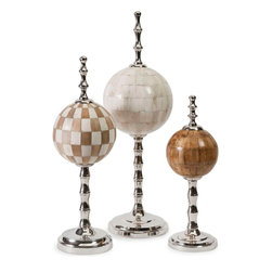 "Imax Worldwide Home - Randolph Bone Finials - With inlaid bone globes suspended on chrome stands, the Randolph bone finials make a sophisticated statement on a tabletop, desk or shelf.; Materials: 70% Bone, 30% Aluminum; Country of Origin: India; Weight: 10 lbs; Dimensions: 14-18-21""H x 5-6-7""W x 5-6-7"""