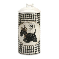 iMax - iMax Dog Ceramic Canister Large X-96296 - Store all the essentials for your canine friend in this beautiful large ceramic container with royal graphics.