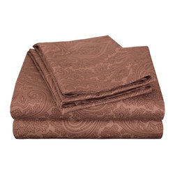 600 Thread Count Queen Sheet Set Cotton Rich Italian Paisley - Chocolate - A modern retelling of a classic design! This sheet set evokes a simpler age while still maintaining its 21st century sensibility. A superior blend of materials makes these sheets soft, easy to care for and wrinkle resistant.