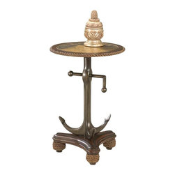 Butler Specialty - Butler Anchor Table - Unique anchor pedestal base with tall ship brass etched top and authentic rope trim. Crafted of wood products and cast resin.
