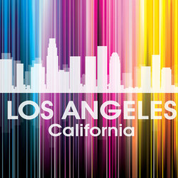 Los Angeles CA Vertical-Lined Rainbow Print - The City of Angels shines bright in a rainbow of color with this mixed-media artwork. Use it to show off a little city pride with digital and photographic layers that capture all of L.A.'s glitz and glam.