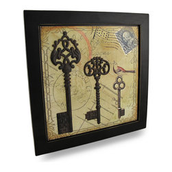 Zeckos - Metal Antique Keys Framed Postcard Motif Wall Hanging - Add a bit of vintage charm to your home with this postcard and antique key inspired wall hanging. It features three decorative antique keys, two of which are made from metal, on a printed postcard themed background. Crafted from wood and measuring 15 inches high, 15 inches wide (38 by 38 cm), and 1/2 inch deep, it's pre-framed and ready to hang with an attached sawtooth and wire hanger on the back. It'll add classic styling anywhere in your home or office, and makes a wonderful gift sure to be admired